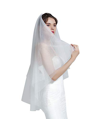 Wedding Bridal Veil with Comb 2 Tier Cut Edge Fingertip Length 35