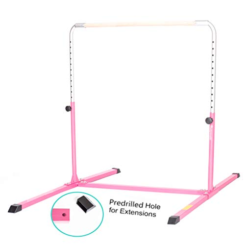 PreGymnastic Expandable Gymnastics Kip Bar with Predrilled Hole for Extensions, Adjustable Height 3'-5' Junior PRO Gymnastics Training Bar