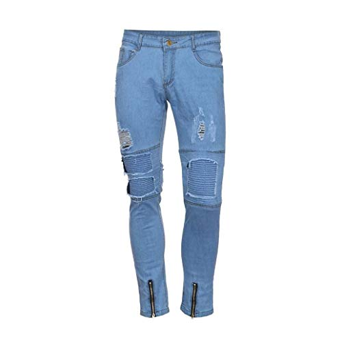 Distrutti Distressed Zipper Stile Skinny Lanceyy Colour Uomo Chern Fori Jeans Casual Slim Frayed Rip Pantaloni Denim Da Semplice Pants Biker Stretch qavqp