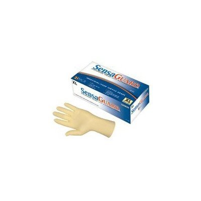 MCR Safety 5055XL SensaGuard Industrial Grade Latex Double Chlorinated Powder-Free Disposable Gloves, Natural, X-Large, Pack of 100