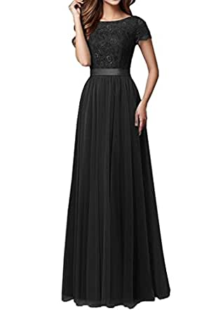 Pretygirl Womens Tulle Long Bridesmaid Dress Short Sleeves Lace Prom Evening Dresses (US 2, Black)