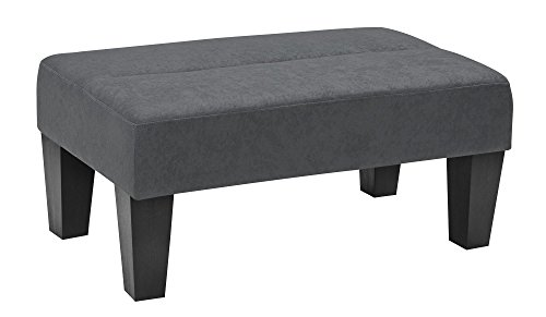 Modern Minimalist Sturdy Kebo Ottoman Upholstered In Rich Microfiber Perfect Footrest Coffee