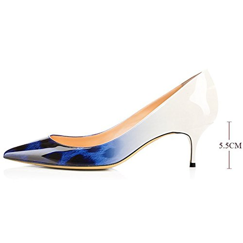 Women's Toe Shoes Women Blue Comfity Sexy Pumps Slip On Dress White Heels Pointed for Kitten Office Pumps qtq4UPvn