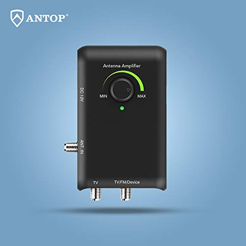 ANTOP Smart Boost Amplifier with Dual Outputs for TV and Second Device- FM Stereo, a Second TV, or Any OTA-Ready Streaming Device or Projector, Support FM/VHF/UH F,for Any Non-Amplified HDTV Antenna ()