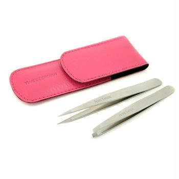 (Tweezerman Petite Tweeze Set: Slant + Point, (with Pink Case), 2)