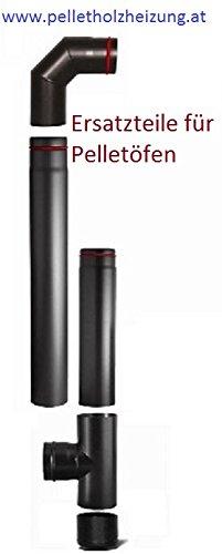 Rauchrohrset 80mm mit 1 m und 25 cm Rauchrohr, Bogen 90° und T-Stück mit Verschlusst.