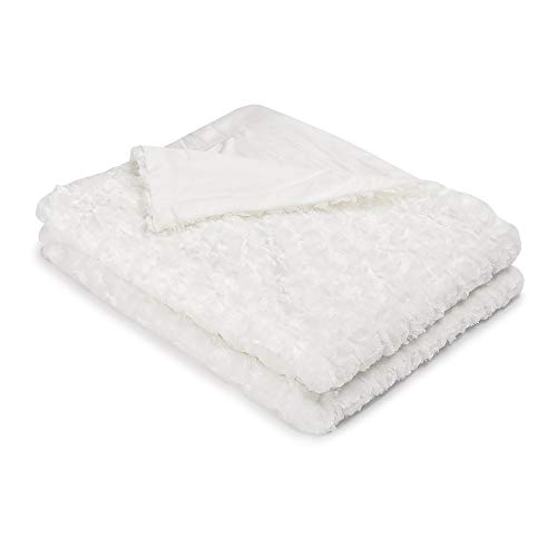 Simple&Opulence Super Soft Microfiber Stereo Rose Pattern Home Furnishing Throw Blanket 50''×60''(White)