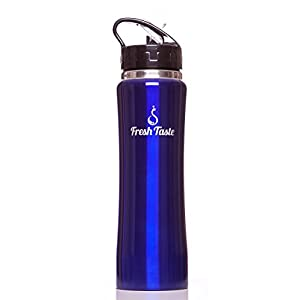 Stainless Steel Sports Water Bottle by Fresh Taste - Double Wall Vacuum Insulated Water Bottle with Straw - 25 Oz - Wide Mouth - Holds Hot or Cold Liquid - FREE Straw Cleaner (Navy Blue)