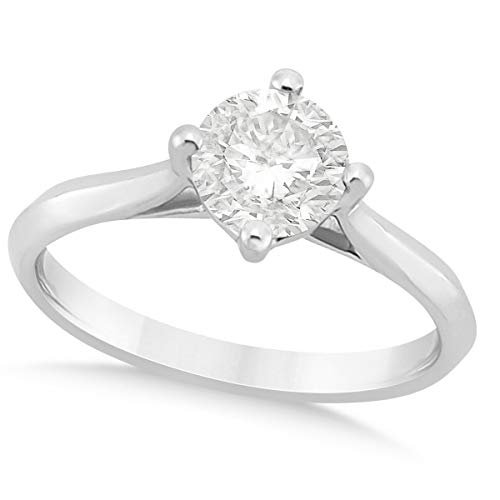 (1.00ct) 14k White Gold Round Solitaire Diamond Cathedral Preset Engagement Ring ()