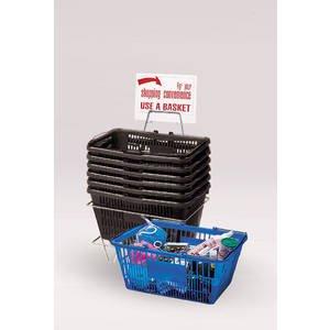6 Black Plastic Shopping Baskets