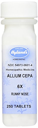 Hyland's Allium Cepa 6X Tablets, Natural Homeopathic Relief of Runny Nose,        250 Count Homeopathic Remedy Runny Nose