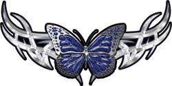 Tribal Butterfly Lady Biker Graphic in Blue - 6