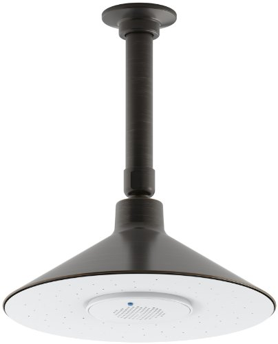 KOHLER K-99105-E-2BZ MOXIE 2.0 GPM Rainhead with Wireless Speaker, Oil-Rubbed Bronze ()