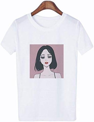 Yizhu Camiseta for Mujer Moda Blanca Manga Corta Suelta niña de Dibujos Animados Estampado niña Camiseta al Aire Libre (Color : Female Head, Size : XXXL): Amazon.es: Deportes y aire libre