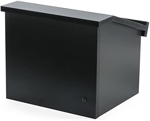 Displays2go 12.6 Inch H Tabletop Portable Podium, Folding, Angled Surface with Lip, Hollow Storage Area, Black LCTFLDNGOB