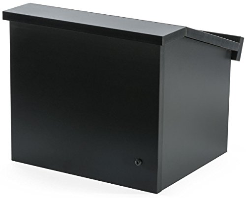 Displays2go 12.6 Inch H Tabletop Portable Podium, Folding, Angled Surface with Lip, Hollow Storage Area, Black (LCTFLDNGOB) ()