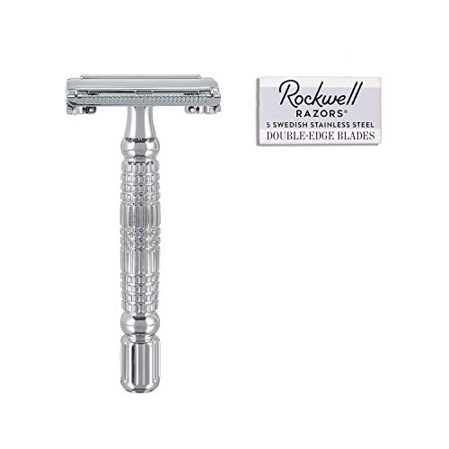 Rockwell Razors R1 Double Edge Safety Razor in White Chrome, Butterfly Open + 5 Swedish Stainless Steel Razor Blades