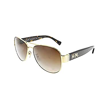 79873f2cc06 Coach Womens L138 Sunglasses (HC7059) Tortoise Brown Metal - Non-Polarized -