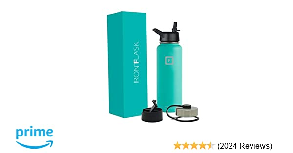 Iron Flask Sports Water Bottle - 18oz, 22oz, 32oz, 40oz, or 64oz, 3 Lids,  Vacuum Insulated Stainless Steel, Hot Cold, Modern Double Walled, Simple