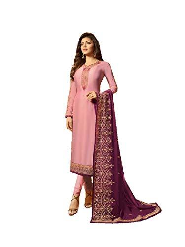 Delisa Designer Wedding Partywear Silk Embroidered Salwar Kameez Indian Dress Ready to Wear Salwar Suit Pakistani LTN (Light Pink, MEDIUM-40)