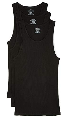 Calvin Klein Men's 3 Pack Basic Tank Top, Black, Large