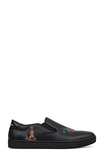 Dolce E Gabbana Herren Cs1365ag278hn692 Schwarz Leder Slip On Sneakers