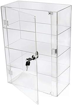 PC3721® 1 Vitrina de 3 estantes de acrílico Transparente de Alto Brillo con Puerta Frontal y Cerradura de Seguridad DB089B-08IN
