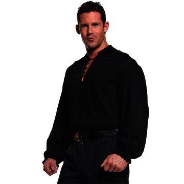 Underwraps Costumes  Men's Renaissance Pirate Shirt, Black, One (Pirate Shirt Costumes)