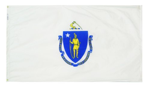 Annin Flagmakers Model 142460 Massachusetts State Flag 3x5 ft. Nylon SolarGuard Nyl-Glo 100% Made in USA to Official State Design Specifications.