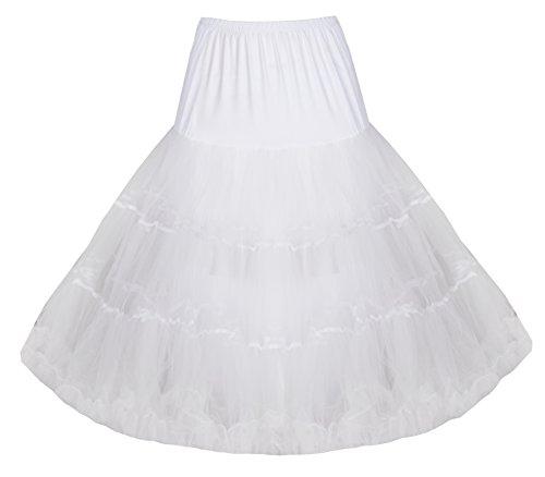 "Lindy Bop Classique 26"" Organza Net Engrener Tulle Jupon/Petticoat Blanc"