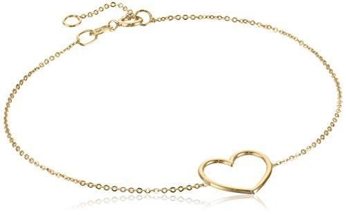 14k Yellow Gold Italian Bracelet (14k Italian Yellow Gold Heart Adjustable Link Bracelet)
