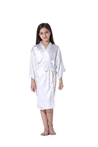 Vogue Forefront Girls' Satin Plain Kimono Robe Bathrobe Nightgown, Size 6, (White Satin Flower)