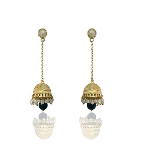 Moonstruck Traditional Long Indian Jhumka Jhumki Golden Dangle Earrings With Pearl For Women (Black)