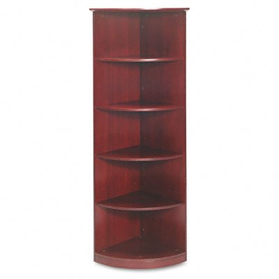 Mayline Corsica Series 1/4 Round Bookcase, 5 Shelves, 19 W by 19 D by 68 H, (5 Shelf Quarter Round Bookcase)