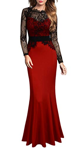 Evening Long Dress - Mmondschein Women's Vintage Floral Wedding Bridesmaid Evening Long Dress Red S