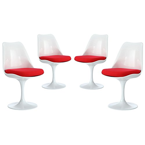 Modway Lippa Modern Dining Side Chairs With Fabric Cushion in Red – Set of 4