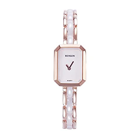 BINLUN Small Rose Gold Tone Unique Design Casual Stainless Steel and Ceramic Band Bangle Bracelet Watch - Tono Oro Charm Bracelet Bracciale