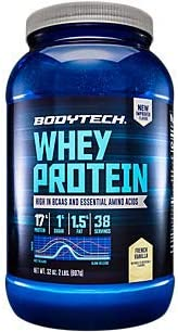 BodyTech Whey Protein Powder with 17 Grams of Protein per Serving Amino Acids Ideal for PostWorkout Muscle Building, Contains Milk Soy Vanilla 2 Pound