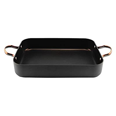 BergHoff Ouro Black Hard Anodized Aluminium Rectangular Single Roaster Pan with Rose Gold Handles Non-Stick Cookware Dishwasher Safe