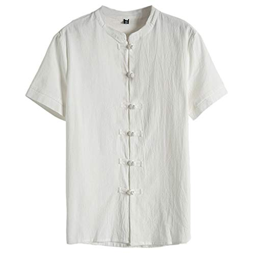 Men's Relaxed-Fit Silk/Linen Tropical Leaves Jacquard Shirt Hawaiian Flower Print Casual Button Down Short Sleeve Shirt White