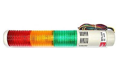 Signal Light Column LED Alarm Round Tower Light Indicator Steady on Light Warning Light Buzzer Red Green Yellow DC 24V