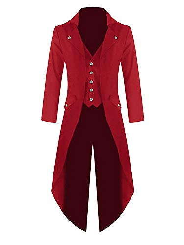 Red Captain Hook Jacket (Makkrom Mens Long Sleeve Button Down Gothic Swallow-Tailed Coat Windbreaker)