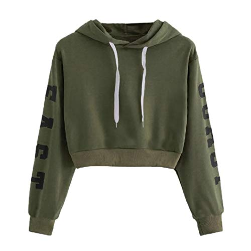 Sweatshirt,ZTY66 Women's Crop Top Long Sleeve Letter Hoodie Tees Shirt Pullover Jumper Blouse (Army Green, S)
