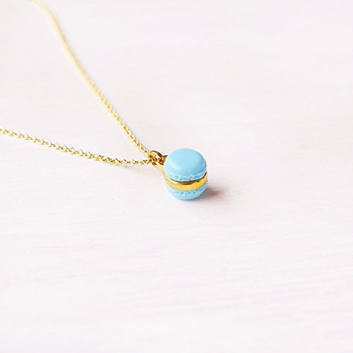 Elfi Handmade Cute Mini Blue Macaron Pendant Necklace Miniature Dessert Food Jewelry wedding gift Macaron Charm Lolita Kawaii Best selling, Perfect for Christmas gifts