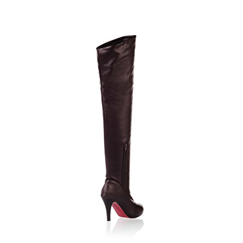 Knee Tall Women Fall Heel Spring Toe High Booties Brown Thin Boots Shoes Thigh Round the Over High EnEYCwq1B