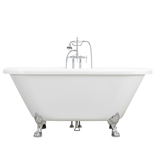 """Hotel Collection HLPD59FPK 59"""" Double Ended CoreAcryl Acrylic Clawfoot Tub and Faucet Pack"""