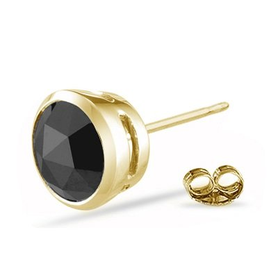 0.43-0.52 Cts Round Rose Cut AA Black Diamond Mens Stud Earring in 14K Yellow Gold by Vogati (Image #2)