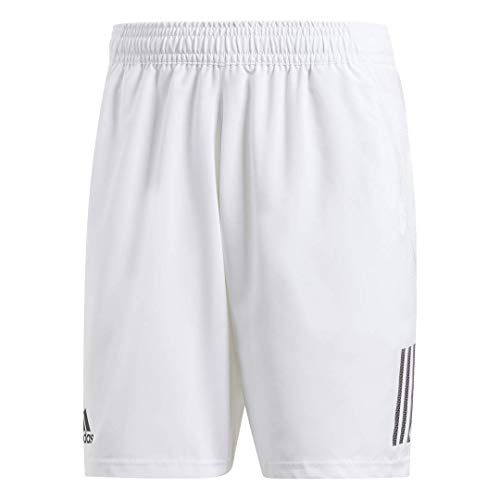 adidas Men's Club 3-Stripes 9-Inch Tennis Shorts, White/Black, Large