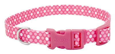 Coastal Pet 06321 A PDT12 Adjustable Collar, 3/8-Inch, Pink Dot