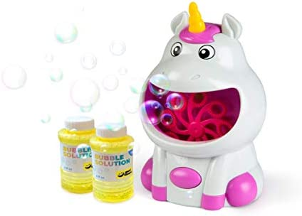 GOOD BANANA Unicorn Bubble Machine - Cordless Bubble Blower for Kids, school rooms, with Bubble Solution Included